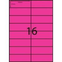 Rediform Colour Labels A4 Bx100 (16/sh) 105x37 Flouro Pink