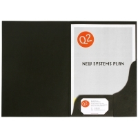 Marbig Presentation Folders A4 Black Leathergrain 1102102 PK20