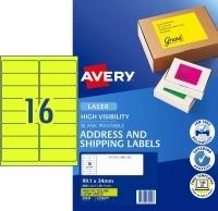 Avery Laser Label L7162FY PK25 sheets 16/Sheet Flouro Yellow