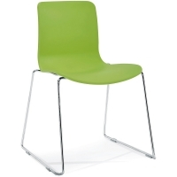 ACTI SC SLED BASE CHAIR Chrome Frame With Plastic Shell Green