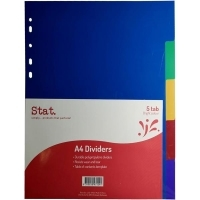 Divider A4 PVC Assorted 5Tab Color STAT 47124