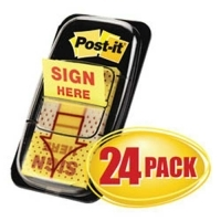 3M Post It Flags 680-9-24CP Cabinet Pack Sign Here (24pack)