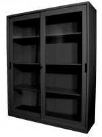 STEELCO SLIDING GLASS DOOR CUPBOARD 1830 3 Shelf Graphite Ripple