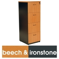 LOGAN FILING CABINET 4 DRAWER Beech & Ironstone