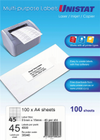 Unistat Labels 38948  BX100 Sheets (45 labels/sheet) 51x15mm