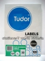 Tudor Laser Inkjet Labels A4 BX100 141077 (33/sh) 70x25.4mm