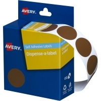 Avery Dispenser Label 24mm Brown BX500