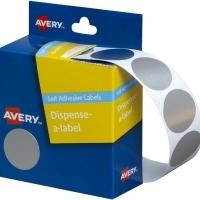 Avery Dispenser Label 24mm Silver BX250