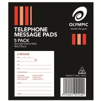 Olympic Telephone Message Pads 141062 100x120mm 50leaf Pack of 5