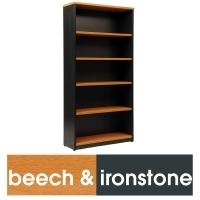 LOGAN BOOKCASE 4 Shelf 1800x900 Beech & Ironstone