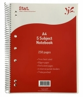 STAT 5 SUBJECT Notebook A4 250pg 60gsm 7mm Ruling Board Cover PK