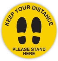 DURUS Social Distancing Sign - Please stand Here Feet