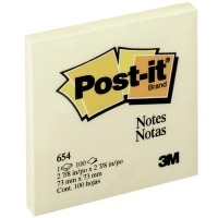 3M Post It Notes 654 Yellow 73x73mm