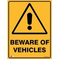 SAFETY SIGN - Beware Of Vehicles 450mmx600mm Metal
