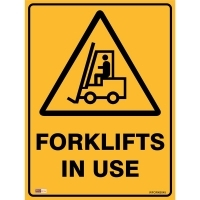 SAFETY SIGN - Forklifts In Use 450mmx600mm Polypropylene