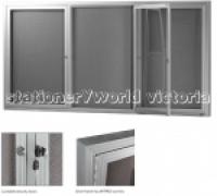 Be Noticed Hinged Door Notice Case 3Door Silver Frame 1830x915