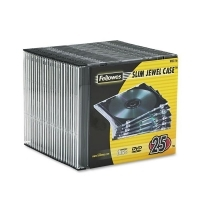 Fellowes CD/DVD Slim Jewel Case PK25 Black/Clear