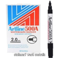 Artline Whiteboard Marker 500A Bullet Black BX12