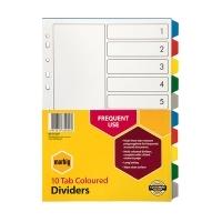Divider A4 PVC Grey 10Tab Color Marbig 35020