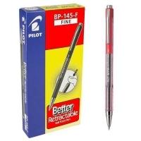 Pilot BP145 Retractable Pens BX12 Fine Red 623254