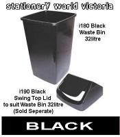 Italplast Waste Paper Tidy Bin Swing Top Lid only i190 Black