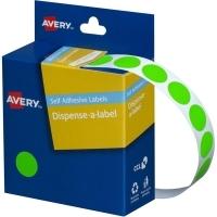 Avery Dispenser Label 14mm Fluoro Green BX1050