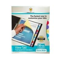Divider A4 View Tab PVC Colours ExtraWide 10Tab Marbig 37840