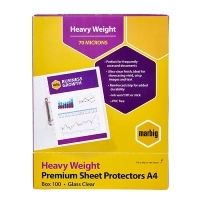 Marbig Sheet Protector Pockets A4 H/Duty Deluxe BX100 25100