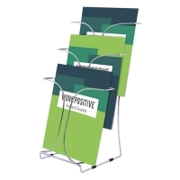 Deflecto Brochure Holder A4 Chrome 3Tier 78345