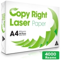 Copy Right A4 Paper 80gsm White I(800bxs:4000reams) 10Pallets