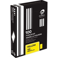 Olympic Manilla Folders Coloured Fcap BX100 Yellow