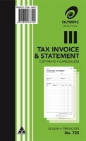 Invoice/Statement Book Trip 200x125 Carbonless Olympic 725