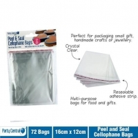 Cellophane Bag Party Central Peel N Seal 160 x 120mm Pack 72