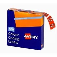 Avery Coding Label Alpha BX500 43204 (D) 25x38mm Dk Orange