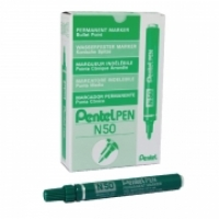 Pentel N50 Permanent Marker Bullet Green BX12