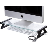 ESSELTE MONITOR STAND GLASS 57CM BLACK LEGS (WITH 3 X USB)