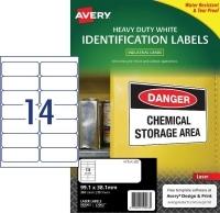 Avery Laser Label  L7063 Heavy Duty PK25 14/sh 99.9x38.1