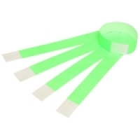 Rexel Wrist Bands with Serial Number PK100 Fluoro Green