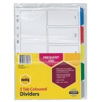 Divider A4 PVC Grey 5Tab Color Marbig 35010