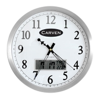 Carven LCD Day/Date/Temp Wall Clock 35cm Silver 0347590