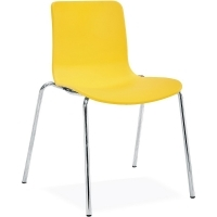 ACTI 4C 4 LEG CHAIR Chrome Frame With Plastic Shell Yellow
