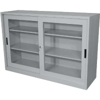 STEELCO SLIDING GLASS DOOR CUPBOARD 1015 2 Shelf Silver Grey