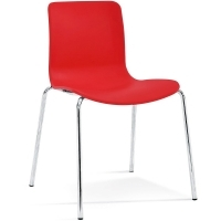 ACTI 4C 4 LEG CHAIR Chrome Frame With Plastic Shell Red