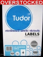 Tudor Laser Inkjet Labels A4 BX100 141070 (4/sh) 105x148mm