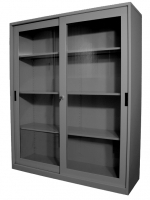 STEELCO SLIDING GLASS DOOR CUPBOARD 1830 3 Shelf Silver Grey