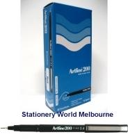 Artline Fineliner Marking Pens No 200 (0.4mm) BX12 Black