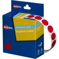Avery Dispenser Label 14mm Red BX1050