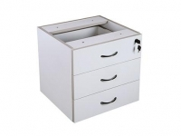 Rapid Vibe Fixed Desk Pedestal 3 Drawer Light Grey