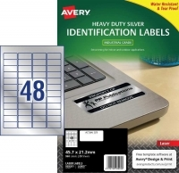 Avery Laser Label  L6009 Heavy Duty Silver PK20 48/sh 45.7x21.2