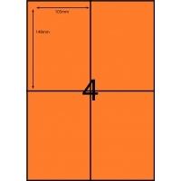 Rediform Colour Labels A4 Bx100 (4/sh) 104x148 Flouro Orange